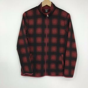Eddie Bauer Radiator Fleece Jacket Red Black Plaid